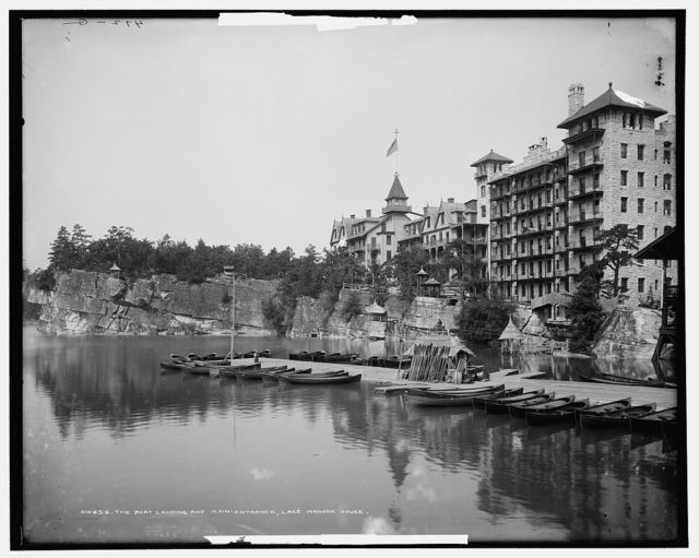 The Boat landing and main entrance, Lake Mohonk House