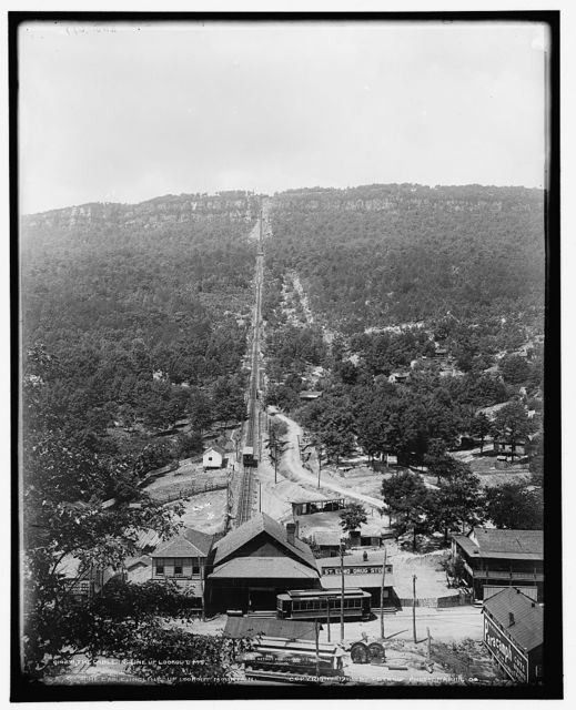 The cable incline up Lookout Mt.