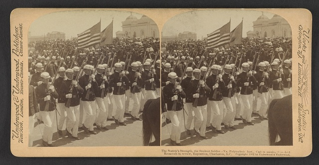 The nation's strength, the student soldier, Va. Polytechnic Inst. cadets passing President Roosevelt in review, Exposition, Charleston, S.C.