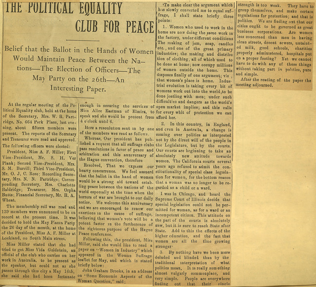 The Political Equality Club for Peace