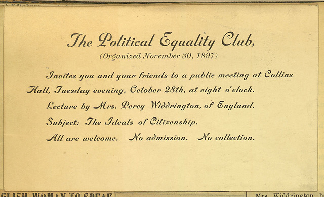 The Political Equality Club invitation to hear English suffragist at Collins Hall