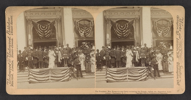 The President, Mrs. Roosevelt and party reviewing the parade before the Exposition Auditorium, Charleston, S.C.