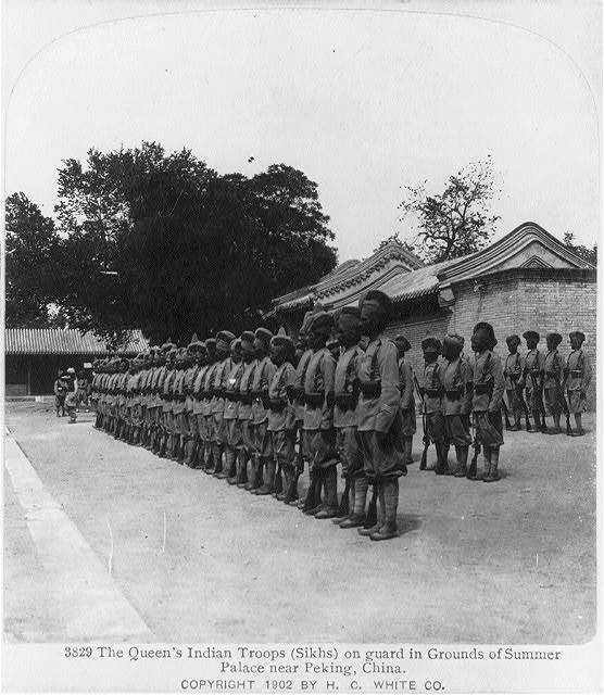 The Queen's Indian troops (Sikhs) on guard in grounds of summer palace near Peking, China