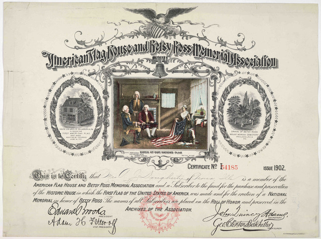 This is to certify that Mrs. A. J. Dougherty, of Peoria, Ills is a member of the American flag house and Betsy Ross memorial association ... Issue of 1902.
