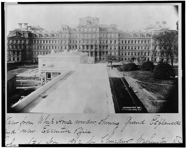 View from White House window showing Grand Esplanade and new Executive Office