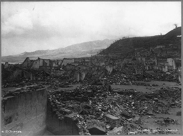 [View of ruins after the volcanic eruption of Mount Pelee, St. Pierre, Martinique]