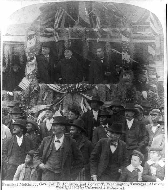 [William McKinley, standing on platform, between Gov. Jos. E. Johnston and Booker T. Washington, Tuskegee, Ala.]