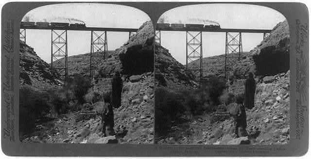A wonder to the primitive inhabitants - Santa Fe Train crossing Canon Diablo, Arizona