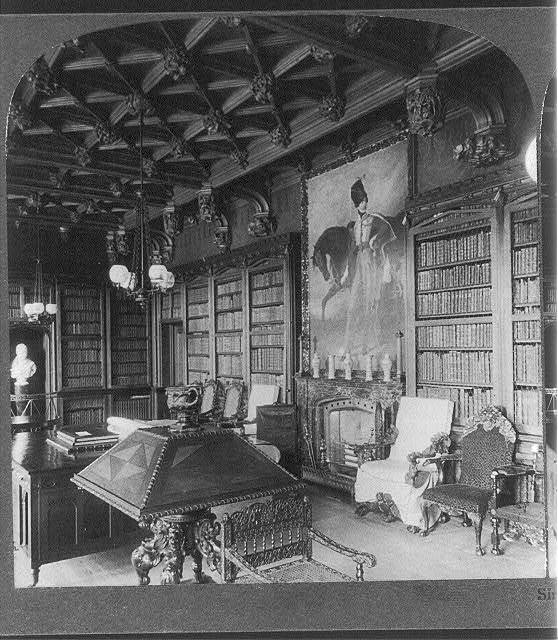 Abbotsford, the Residence of Sir Walter Scott, Scotland: Library, with portrait of Lieut. Scott, son of the poet