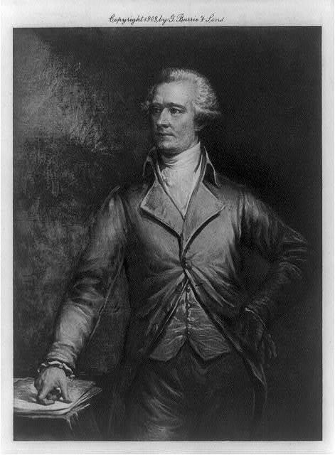 [Alexander Hamilton, three-quarter length portrait, standing, left hand on hip, facing left]