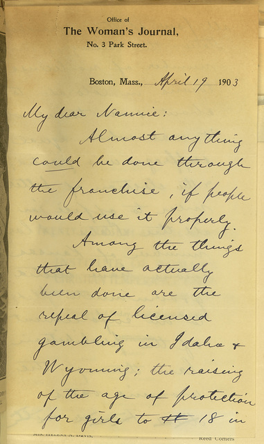 Alice Stone Blackwell to Nannie (Anne Fitzhugh Miller)