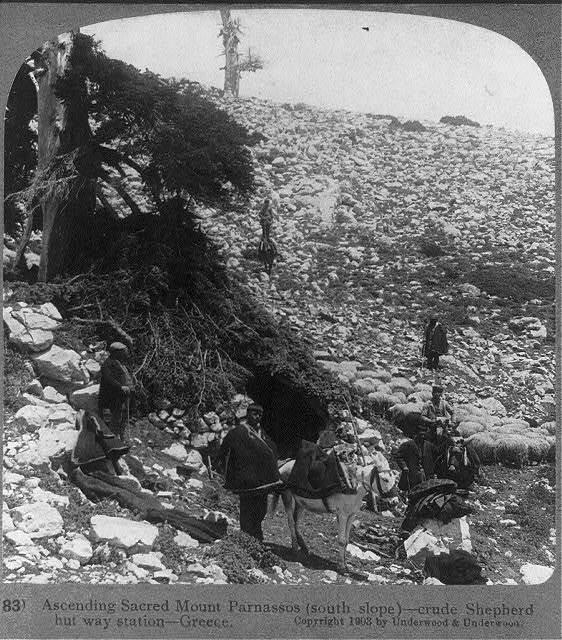 Ascending sacred Mount Parnassos (south slope) - crude shepherd hut way station, Greece