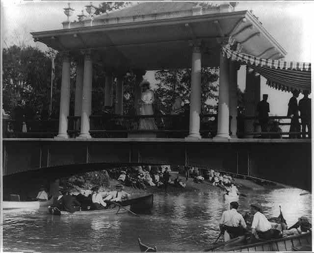 [Band concert with boating below in a Detroit, Mich., park, 1903]