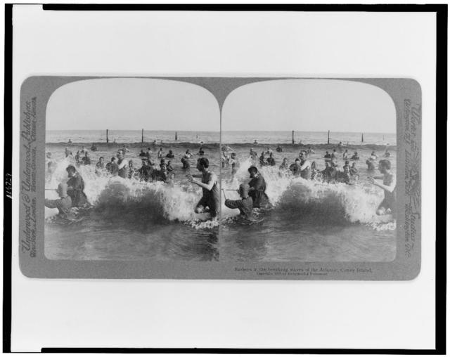 Bathers in the breaking waves of the Atlantic, Coney Island