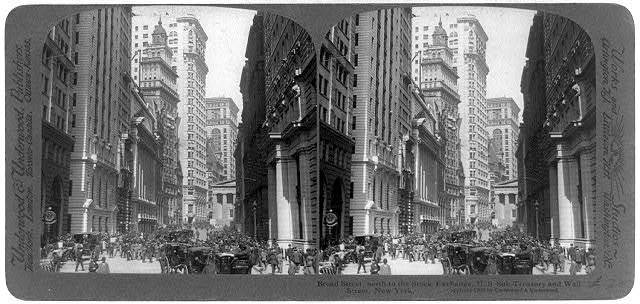 Broad Street, north to the Stock Exchange, U.S. Sub-Treasury, and Wall Street, New York