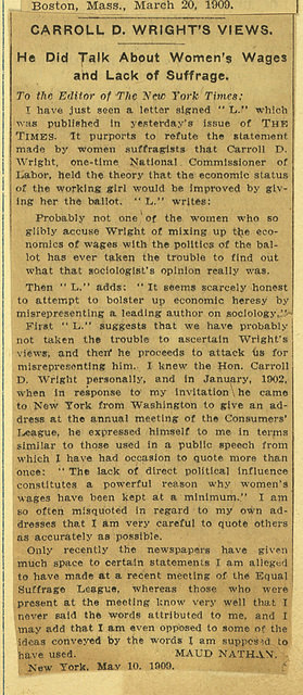 Carroll D. Wright's Views; He did talk about women's wages and lack of suffrage