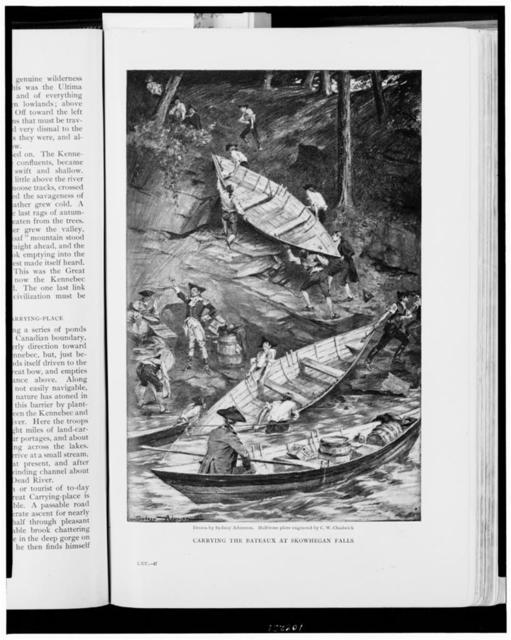Carrying the bateaux at Skowhegan Falls / drawn by Sydney Adamson ; half-tone plate engraved by C.W. Chadwick.