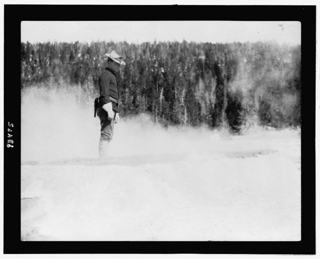 [Cavalryman guard at Midway geyser basin, Yellowstone National Park]
