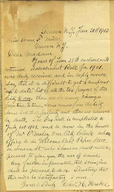 Charles H. Huke To Anne Fitzhugh Miller