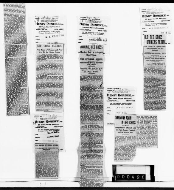 Clara Barton Papers: Red Cross File, 1863-1957; American National Red Cross, 1878-1957; Investigation and resignation; Newspaper clippings, 1903-1904