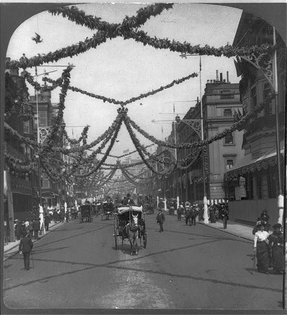 Coronation decorations, St. James St., London