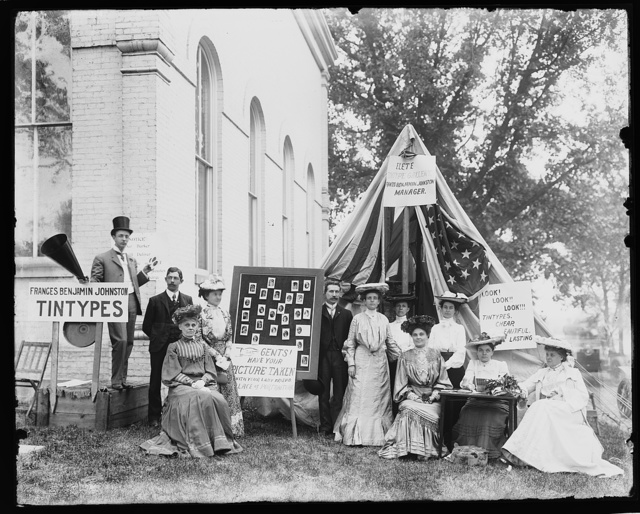 County fair, tintype booth of Miss. F.B. Johnston, May 1903