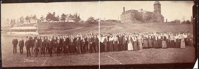 [Cushing Academy students with Cushing Academy in the background, Ashburnham, Mass.]