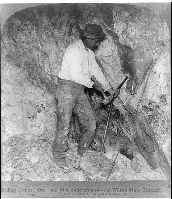 Drilling cooper ore one mile underground the Wilson Mine, Metcalf, Arizona