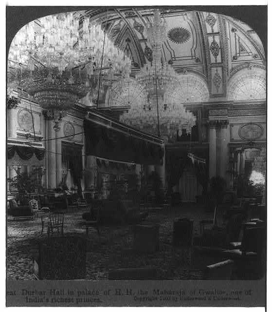 Durbar Hall in palace of the Maharaja of Gwalior, India
