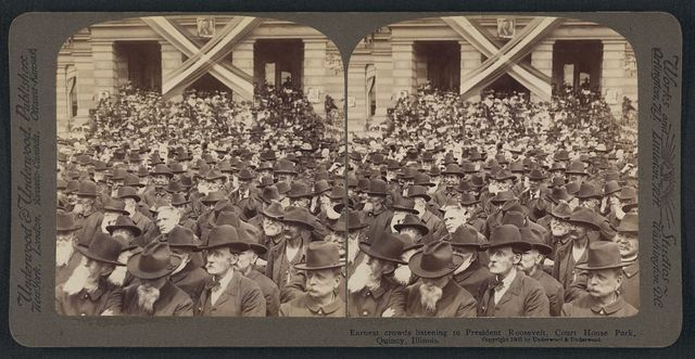 Earnest crowds listening to President Roosevelt, Court House Park, Quincy, Illinois