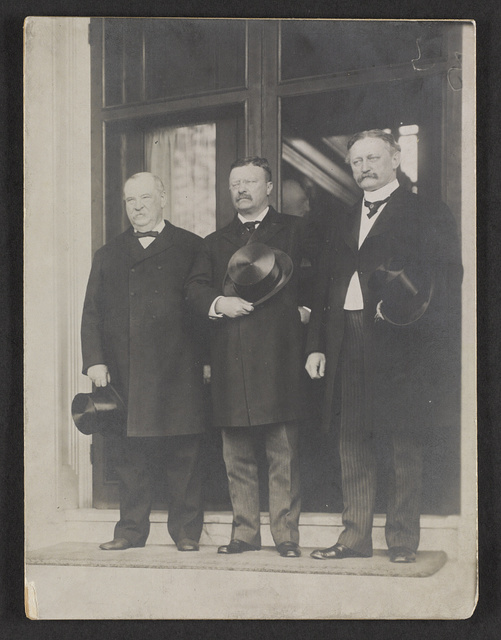 Ex-President Cleveland, President Roosevelt, and David R. Francis, holding hats