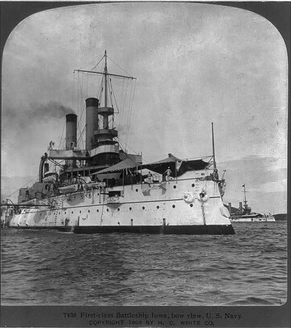 First-class battleship IOWA, bow view, U.S. Navy