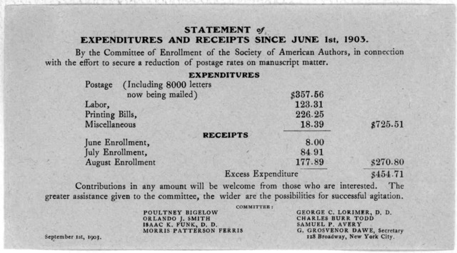 First enrollment in order to secure through Congress at its next session a postage rate of one cent for two ounces on manuscripts, newspaper correspondence, music scores and other impersonal manuscript communications ... Society of American auth