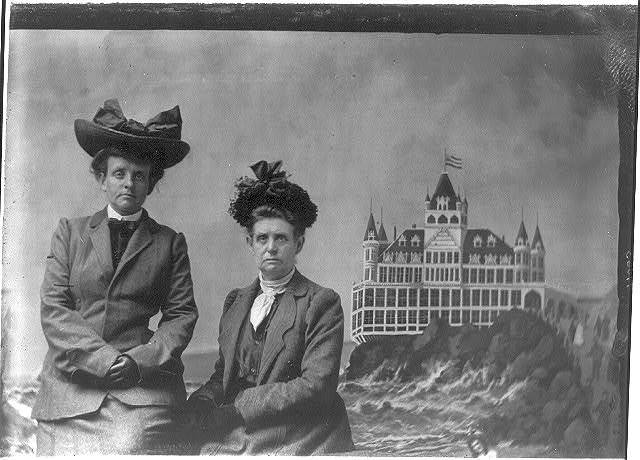 [Frances Benjamin Johnston, with Maddie (her mother), 1903, with a painted backdrop of the Cliff House in San Francisco, California ]