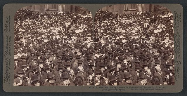 G.A.R. men and young citizens in thousands at Rockford, Ill., to hear Pres. Roosevelt speak