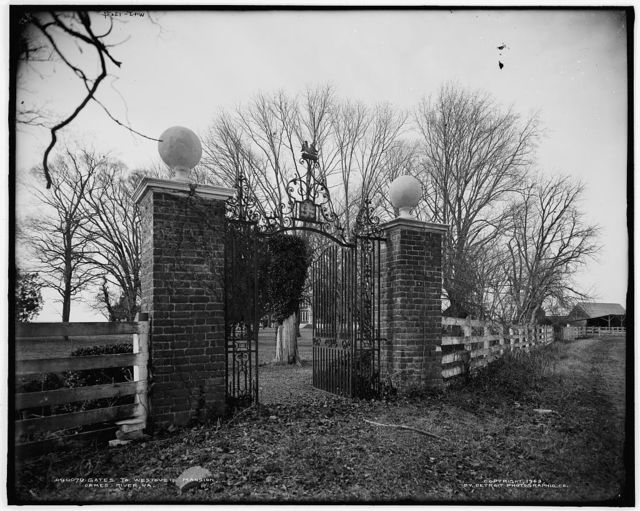 Gates to Westover Mansion, James River, Va.