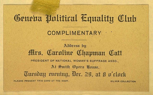 Geneva Political Equality Club Complimentary Ticket for Carrie Chapman Catt address