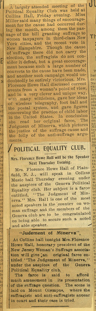 "Geneva Political Equality Club hears Florence Howe Hall's ""Judgment of Minerva"""