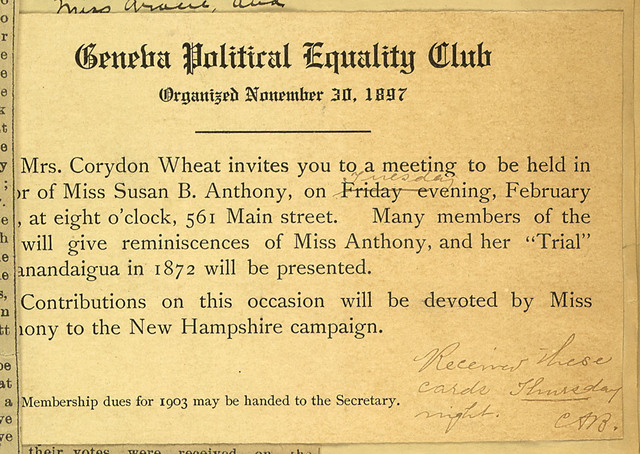 Geneva Political Equality Club meeting notice, home of Mrs. Corydon Wheat