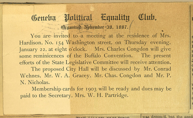 Geneva Political Equality Club meeting notice, home of Mrs. Hardison