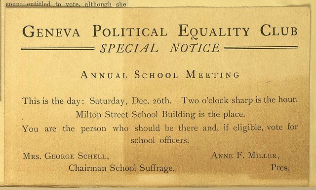 Geneva Political Equality Club Special Notice of School Meeting