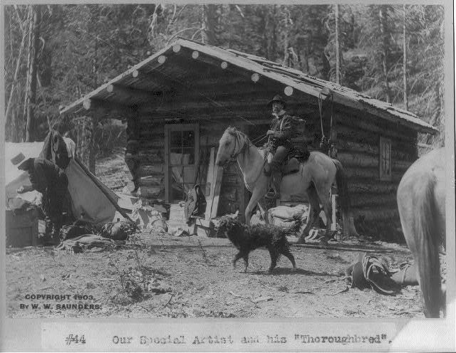 "[Idaho - Roosevelt: ""our special artist and his 'thoroughbred'"" (man on horseback in front of log cabin)]"