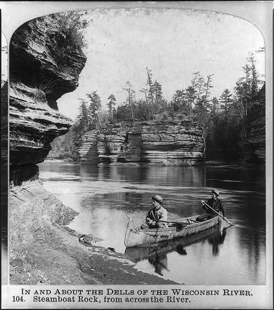In and about the dells of the Wisconsin River: Steamboat Rock, from across the river