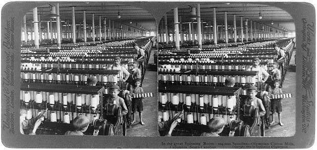 In the great spinning room - 104,000 spindles - Olympian Cotton Mills, Columbia, South Carolina