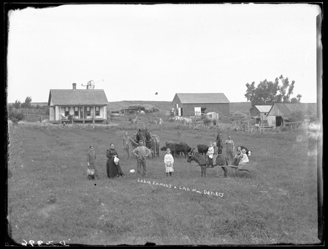 Jacob Lahm family in front of their farmhouse, near Sumner, Dawson County, Nebraska