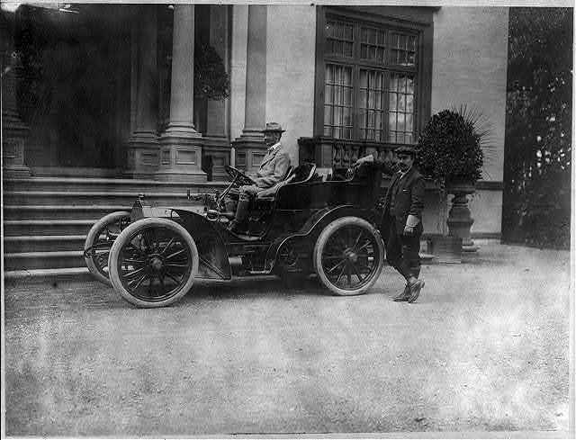[John Jacob Astor, 1864-1912, in automobile]