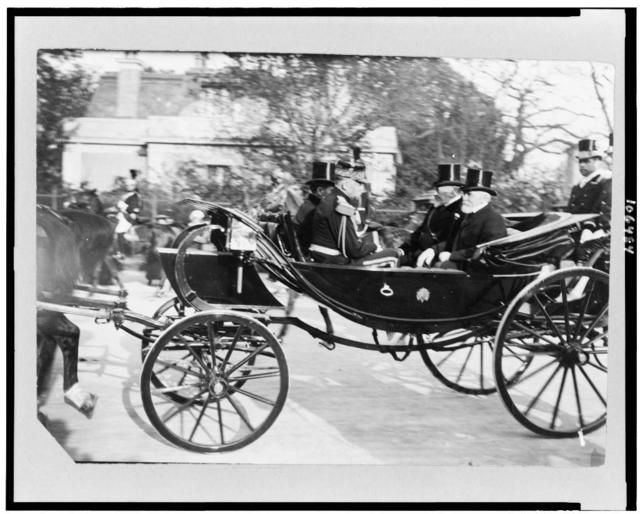 [King's carriage leaving Longchamps with Loubet and King Edward]