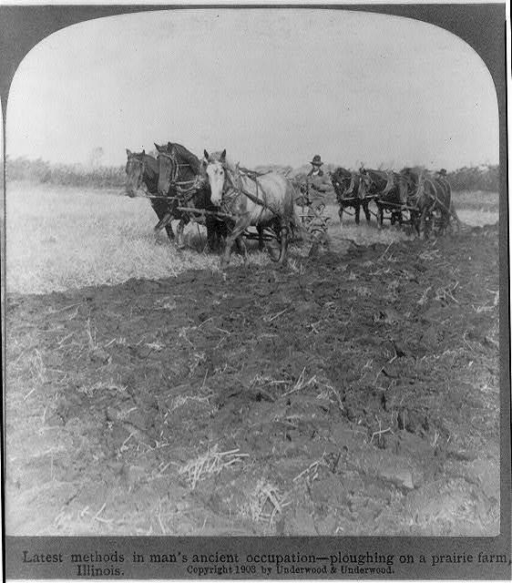 Latest methods in man's ancient occupation--ploughing on a prairie farm, Illinois