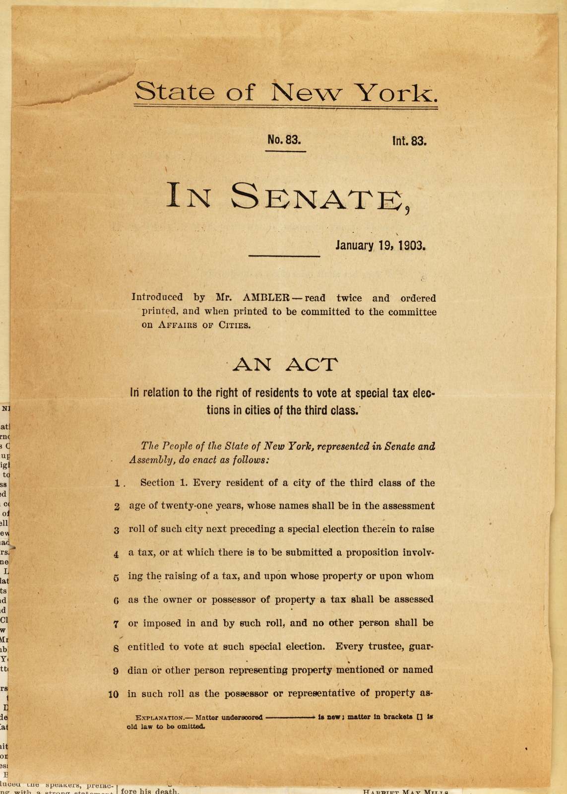 Legislative Committee of New York State Woman Suffrage Association to New York Legislature