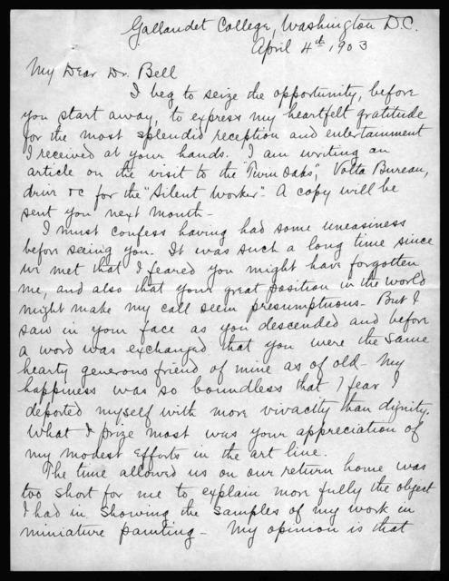 Letter from Albert V. Ballin to Alexander Graham Bell, April 4, 1903